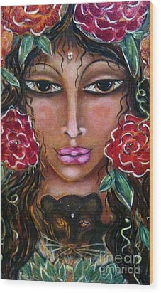 Our Lady Of The Lion Heart Wood Print by Maya Telford