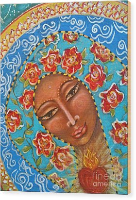 Our Lady Of The Roses Wood Print by Maya Telford