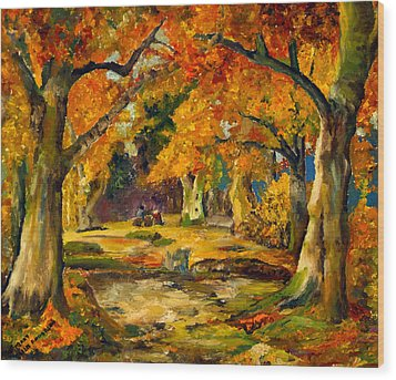 Wood Print featuring the painting Our Place In The Woods by Mary Ellen Anderson