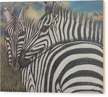 Our Stripes May Be Different But Our Hearts Beat As One Wood Print by Kimberlee Baxter