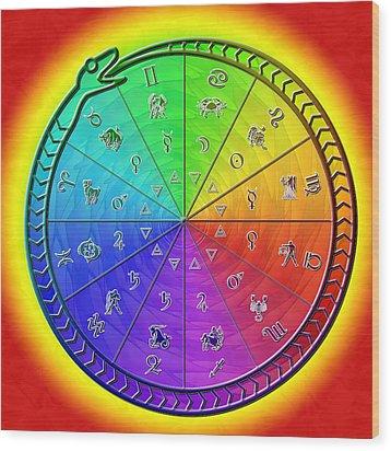 Ouroboros Alchemical Zodiac Wood Print by Derek Gedney