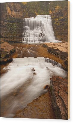 Wood Print featuring the photograph Ousel Falls by Aaron Whittemore