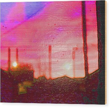 Out My Back Window 6 Am V3 Wood Print by Lenore Senior