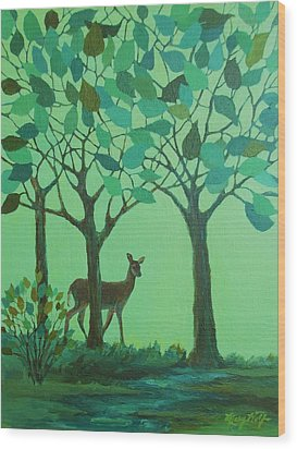 Out Of The Forest Wood Print by Mary Wolf