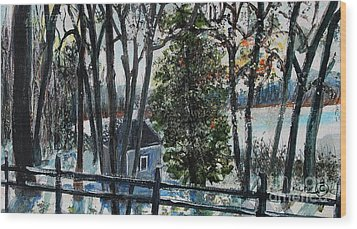 Out Of The Woods At Walden Pond Wood Print by Rita Brown
