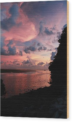Out With A Roar Sunset Over Water Tarpon Springs Florida Wood Print by Robin Lewis