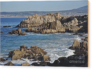 Outcroppings At Monterey Bay Wood Print