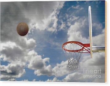 Outdoor Basketball Shot Wood Print by Lane Erickson