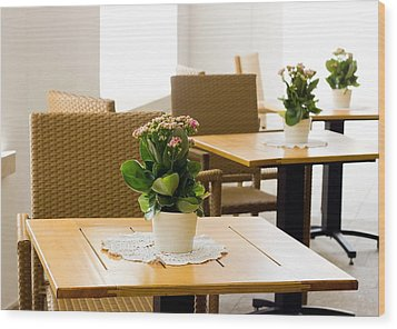 Outdoor Dining Tables Wood Print by Pati Photography