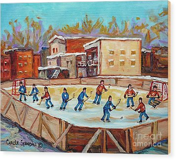Outdoor Hockey Fun Rink Hockey Game In The City Montreal Memories Paintings Carole Spandau Wood Print by Carole Spandau