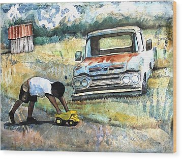 Outdoor Play'n Trucks Wood Print