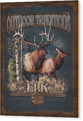 Outdoor Traditions Elk Wood Print by JQ Licensing