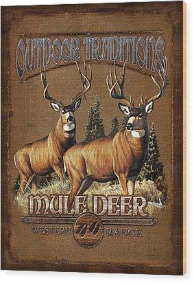 Outdoor Traditions Mule Deer Wood Print by JQ Licensing