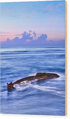 Outer Banks - Beached Boat Final Sunrise II Wood Print by Dan Carmichael