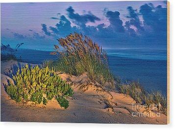 Outer Banks - Ocracoke Sand Dunes Oats Sunrise Wood Print by Dan Carmichael