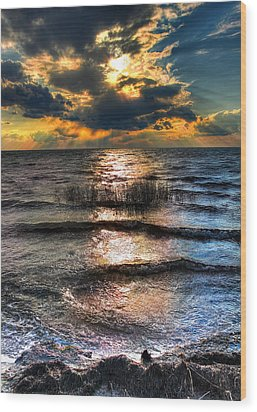 Outer Banks - Radical Sunset On Pamlico Wood Print