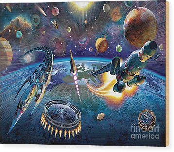 Outer Space Wood Print by Adrian Chesterman