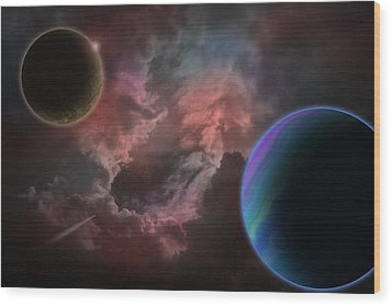 Outer Space Mystery Digital Painting Wood Print by Georgeta Blanaru