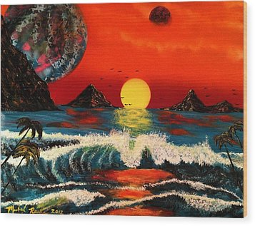 Wood Print featuring the painting Outer Worlds by Michael Rucker