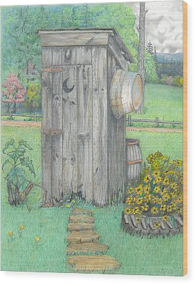Outhouse Wood Print by David Gallagher