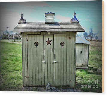 Outhouse - His And Hers Wood Print by Paul Ward
