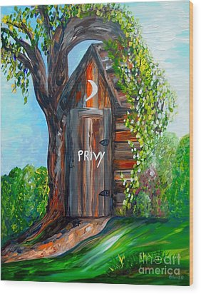Outhouse - Privy - The Old Out House Wood Print by Eloise Schneider