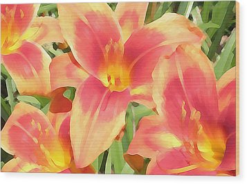 Outrageous Lilies Wood Print by Jean Hall