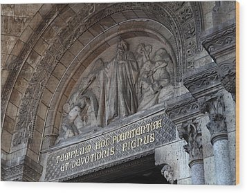 Outside The Basilica Of The Sacred Heart Of Paris - Sacre Coeur - Paris France - 011312 Wood Print by DC Photographer