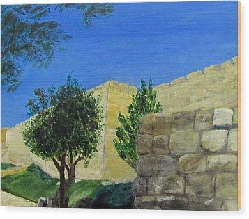 Outside The Wall - Jerusalem Wood Print by Linda Feinberg