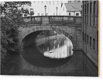 Wood Print featuring the photograph Oval Bridge Over The River Foss York by Scott Lyons