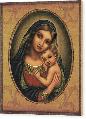 Wood Print featuring the mixed media Oval Madonna  by Ananda Vdovic