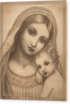 Wood Print featuring the mixed media Oval Madonna Drawing by Ananda Vdovic