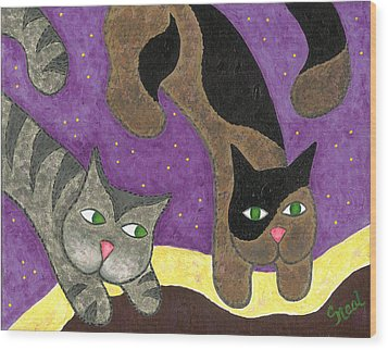 Over Cover Cats Wood Print