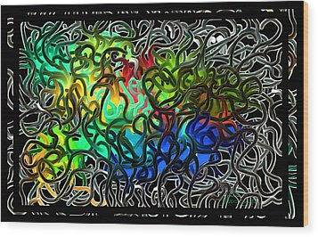 Over Easy - Crazy Brain Series - Two Wood Print by Steven Lebron Langston