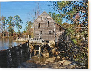 Wood Print featuring the photograph Over The Dam At Yates Mill by Bob Sample