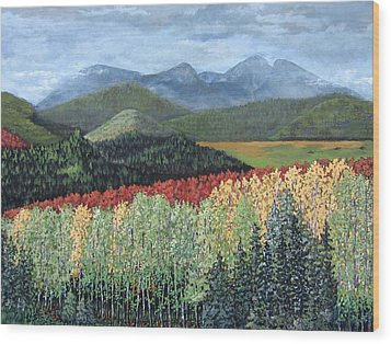 Wood Print featuring the painting Over The Hills And Through The Woods by Suzanne Theis