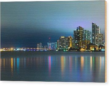 Overcast Miami Night Skyline Wood Print