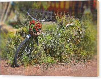 Overgrown Bicycle With Flowers Wood Print by Mike McGlothlen