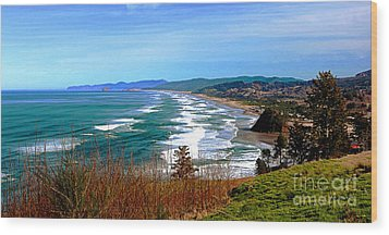 Overlooking Proposal Rock Cape Lookout Haystack Rock And Cape Kiwanda Wood Print
