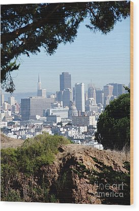 Overlooking The City By The Bay San Francisco  Wood Print by Jim Fitzpatrick