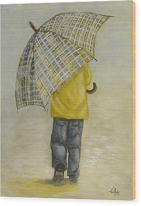 Oversized Umbrella Wood Print by Kelly Mills