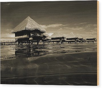 Overwater Bungalows  Wood Print by Zinvolle Art