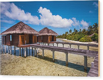 Overwater Spa Villas. Maldives Wood Print by Jenny Rainbow