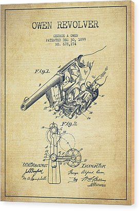 Owen Revolver Patent Drawing From 1899- Vintage Wood Print by Aged Pixel