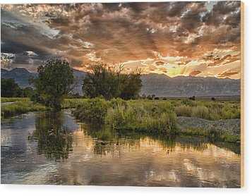 Owens River Sunset Wood Print