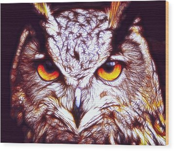 Wood Print featuring the digital art Owl - Fractal by Lilia D