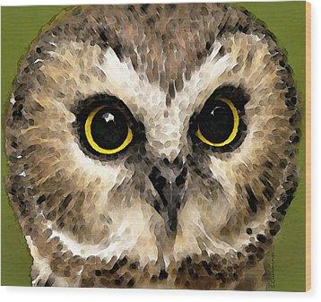 Owl Art - Night Vision Wood Print by Sharon Cummings