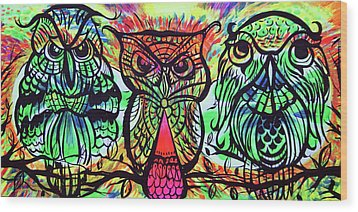 Owl B Watching Wood Print by Lorinda Fore and Tony Lima