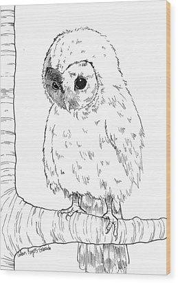 Owl Baby Wood Print by Callan Rogers-Grazado
