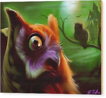 Owl Wood Print by Brandon Heffron
